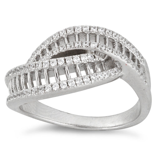 Sterling Silver Ladder Pave CZ Ring
