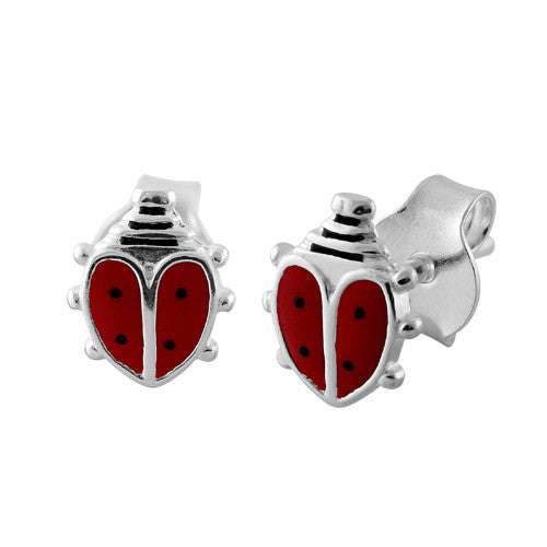 Sterling Silver Red Enamel Ladybug Earrings