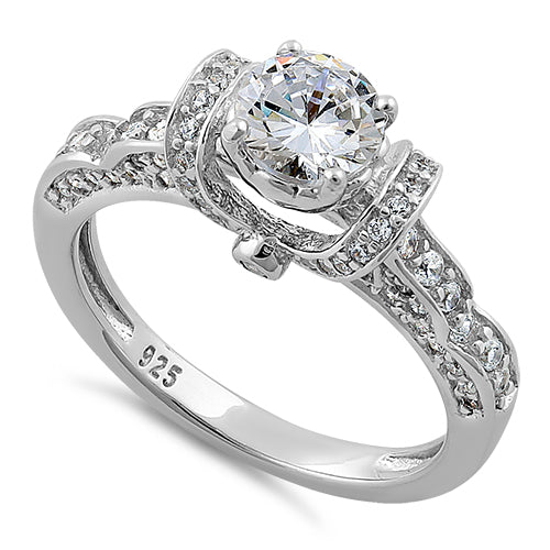 Sterling Silver Lavish Round Cut Clear CZ Ring