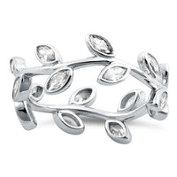 Sterling Silver  Leaves Clear CZ Ring