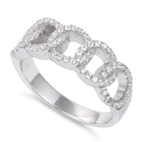 Sterling Silver Linked CZ Ring