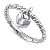Sterling Silver Locked Heart Dangle Ring