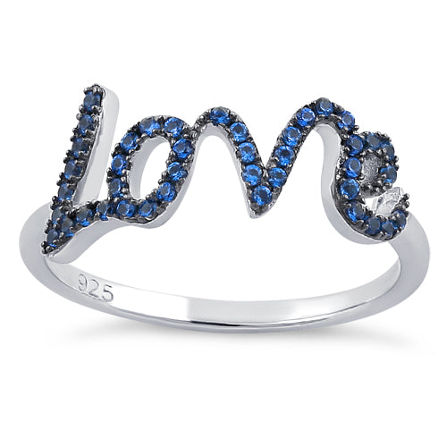 Sterling Silver Love Blue Spinel CZ Ring