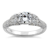 Sterling Silver Majestic Round Cut Clear CZ Ring