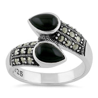 Sterling Silver Marcasite Pear Shape Black Onyx Ring