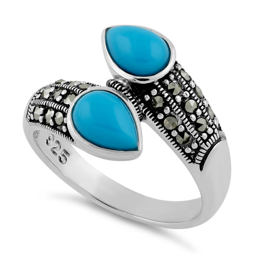 Sterling Silver Marcasite Pear Shape Simulated Turquoise Ring