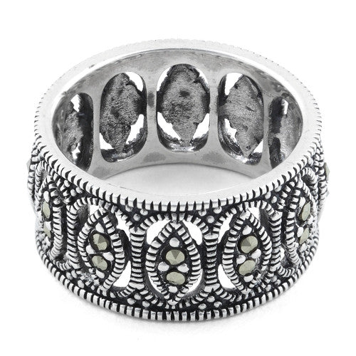 Sterling Silver Marquise Eternity Marcasite Band Ring