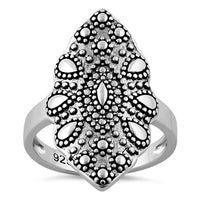 Sterling Silver Marquise Shape Coral Ring