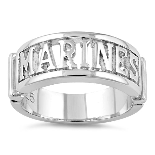 Sterling Silver Men's MARINES Ring