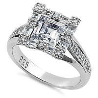 Sterling Silver Modern Asscher Cut Clear CZ Engagement Ring
