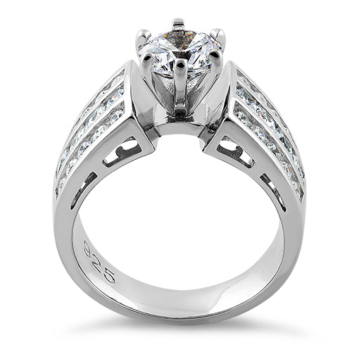 Sterling Silver Modern Round Cut Engagement CZ Ring