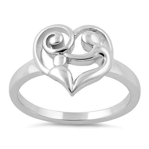 Sterling Silver Mom and Child Heart Ring