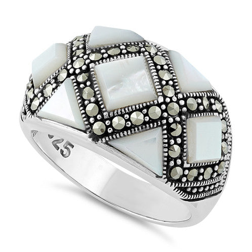 Sterling Silver Mother of Pearl Pattern Marcasite Ring