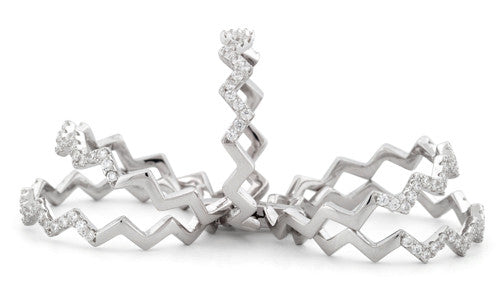 Sterling Silver Movable Zig Zag CZ Ring