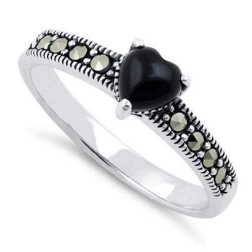 Sterling Silver Black Onyx Heart Marcasite Ring