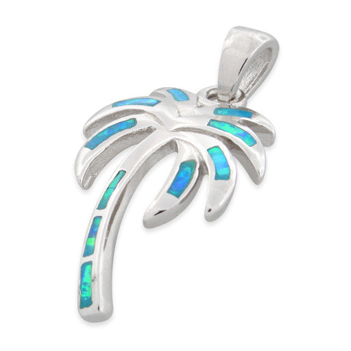 Sterling Silver Lab Opal Big Coconut Palm Tree Pendant