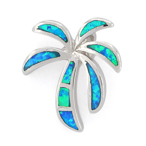 Sterling Silver Lab Opal Palm Tree Pendant