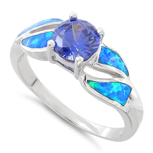Sterling Silver Lab Opal Round Tanzanite CZ Ring