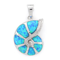 Sterling Silver Lab Opal Shell Pendant
