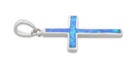 Sterling Silver Lab Opal Small Cross Pendant