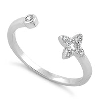 Sterling Silver Open Flower CZ Ring
