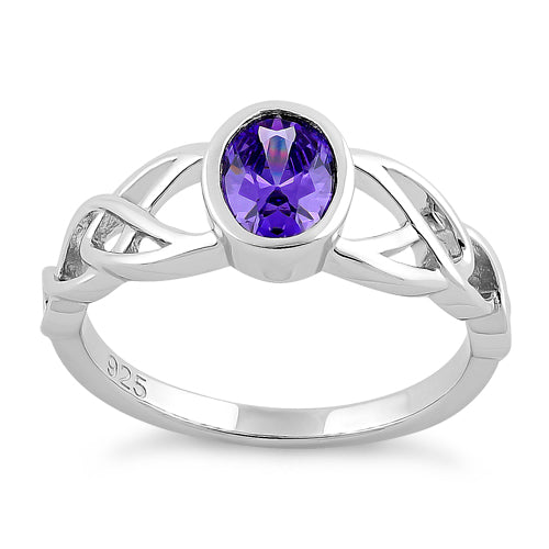 Sterling Silver Oval Amethyst CZ Celtic Ring
