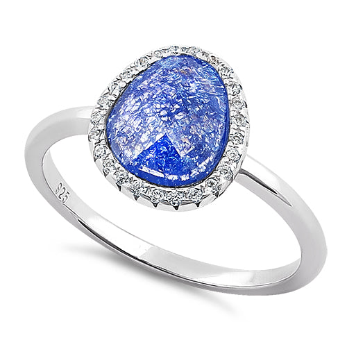 Sterling Silver Offset Oval Blue Galaxy CZ Ring