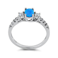 Sterling Silver Oval Blue Lab Opal CZ Ring