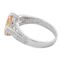 Sterling Silver Oval Champagne CZ Ring