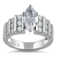 Sterling Silver Marquise Cut Clear CZ Ring