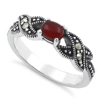 Sterling Silver Oval Red Agate Marcasite Ring