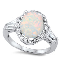 Sterling Silver Oval White Lab Opal CZ Ring