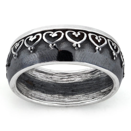 Sterling Silver Oxidized Heart Eternity Ring