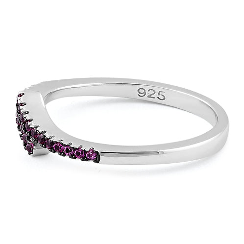 Sterling Silver Pave Ruby CZ Ring