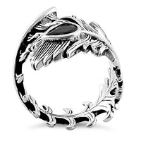 Sterling Silver Peacock Feather Black CZ Ring