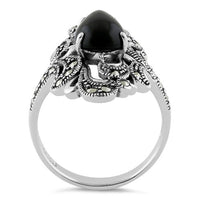 Sterling Silver Pear Shape Black Onyx Marcasite Ring