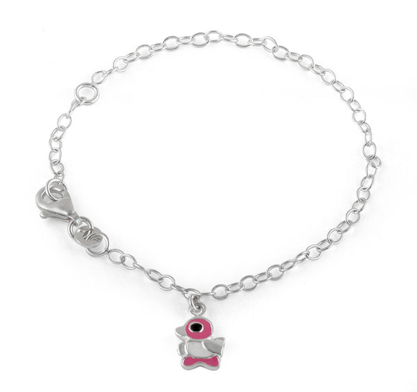 Sterling Silver Pink and White Enamel Duck Bracelet (Child Size)