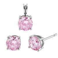 Sterling Silver Pink CZ Set