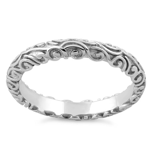 Sterling Silver Plain Bali Band Ring