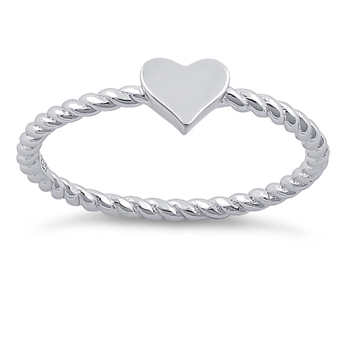 Sterling Silver Plain Heart Ring