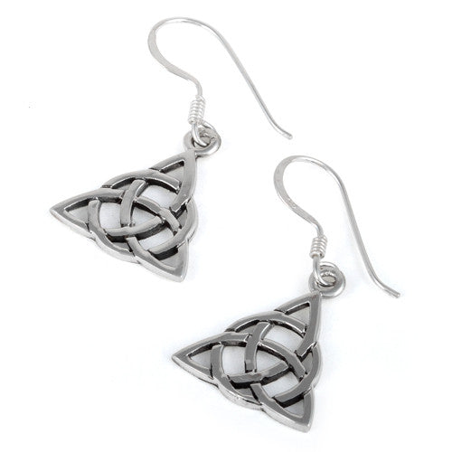 Sterling Silver Plain Triangle Celtic Earrings