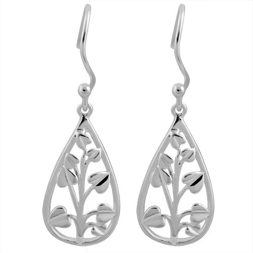 Sterling Silver Plant Leaves Earrings