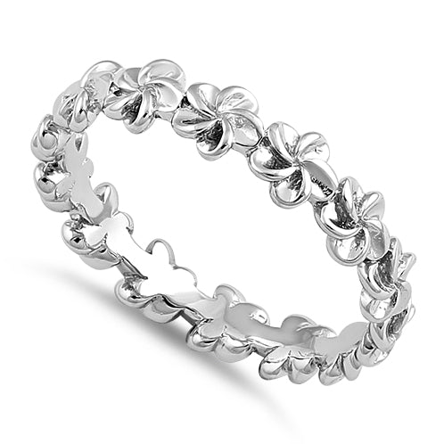 Sterling Silver Plumeria Eternity Band Ring