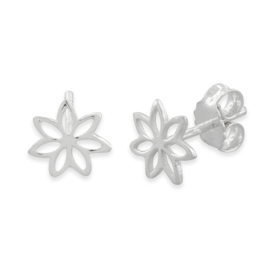 Sterling Silver Plumeria Stud Earrings