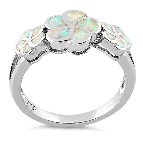 Sterling Silver Plumeria White Lab Opal Ring