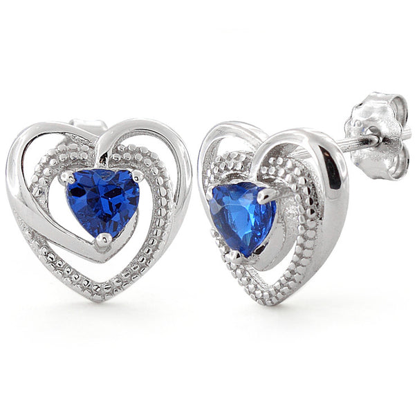 Sterling Silver Precious Heart Blue Sapphire CZ Earrings