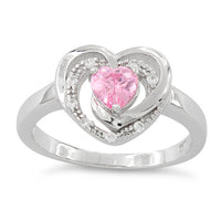 Sterling Silver Precious Heart Pink CZ Ring