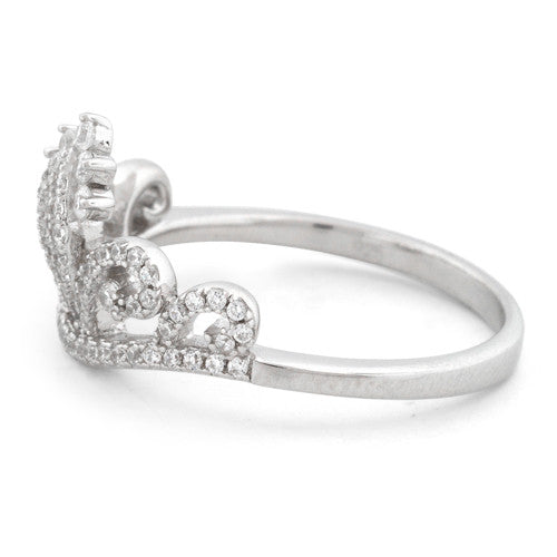 Sterling Silver Princess Crown CZ Ring