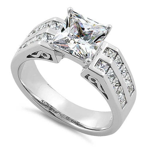 Princess Cut Clear Cubic Zirconia Two Leaves Shape Ring Sterling Silver