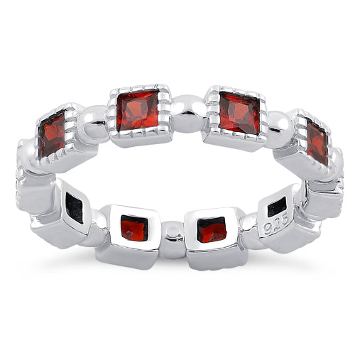 Sterling Silver Princess Cut Garnet Eternity CZ Ring